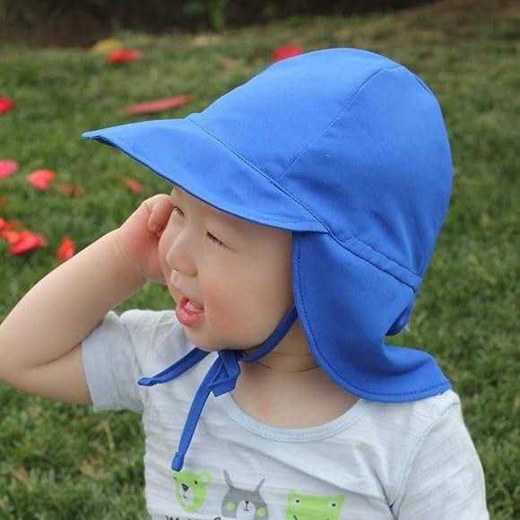 LACOFIA Baby Sun Protection Beach Hat Toddler Super Soft Adjustable Flap Cap Kids Summer Visor Cap