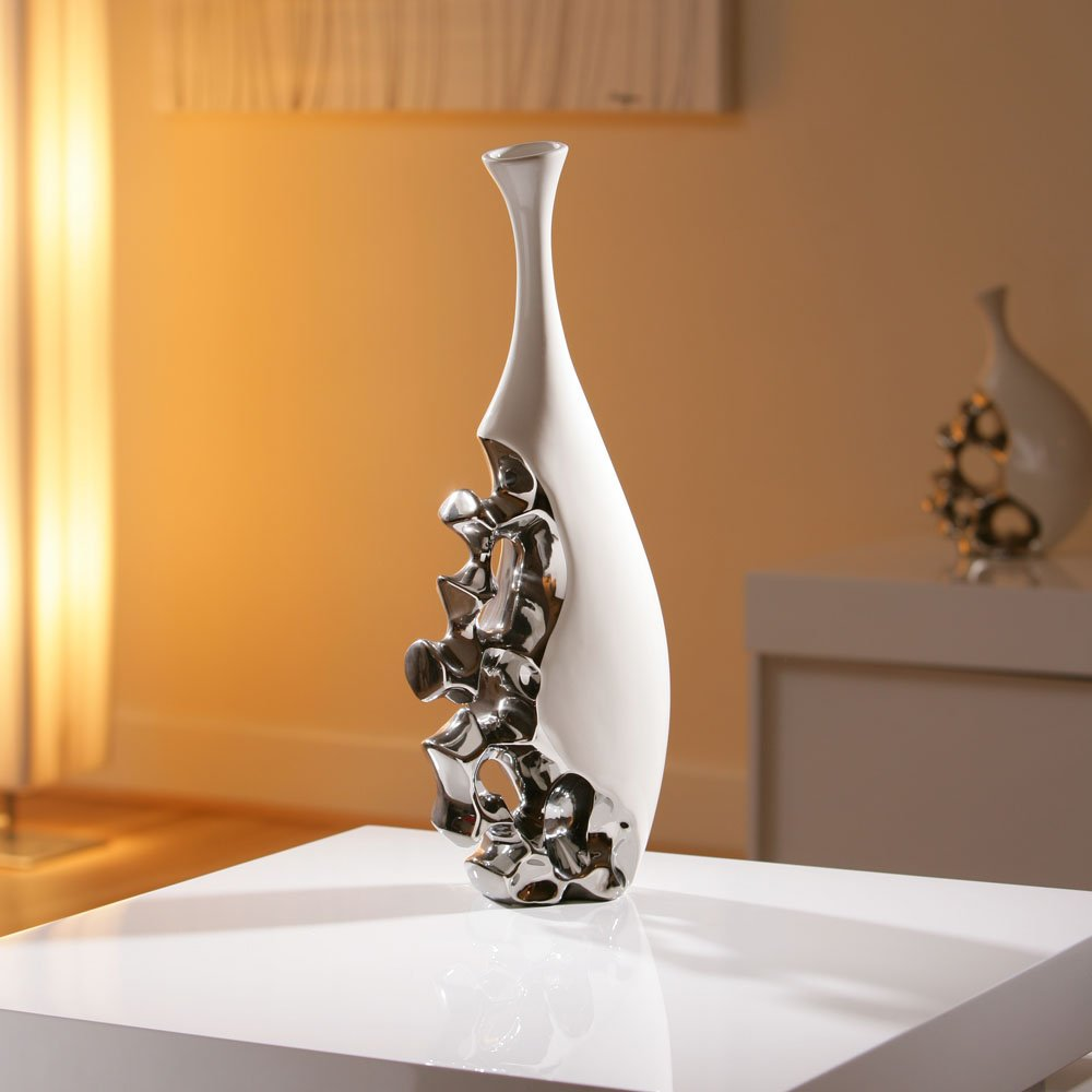 Stunning Modern Vase/Ornament White/Chrome Large Birthday Present 25 on floor games, floor flowers, floor tiles, floor sofas, floor lamps, floor furniture, floor glass, floor cabinets, floor frames, floor storage, floor baskets, floor puzzles, floor shelves, floor stencils, floor prints, floor candelabras, floor markers, floor sculptures, floor pillows, floor planters,