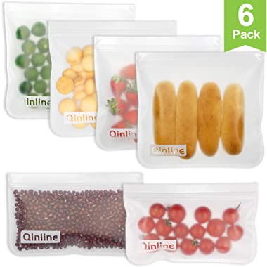 Reusable Storage Bags - 6 Pack Airtight Freezer Bags (4 Pack Reusable Sandwich Bags & 2 Reusable Snack Bags), BPA FREE Ziplock Lunch Bag for Food Travel Storage Home Organization