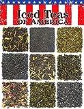 Loose Leaf Iced Tea Sampler Assortment - Teas of America Variety of 9 Green Tea & Black Tea w/Peach, Rose, Blueberry, Blackberry, More- Approx 70+ Servings