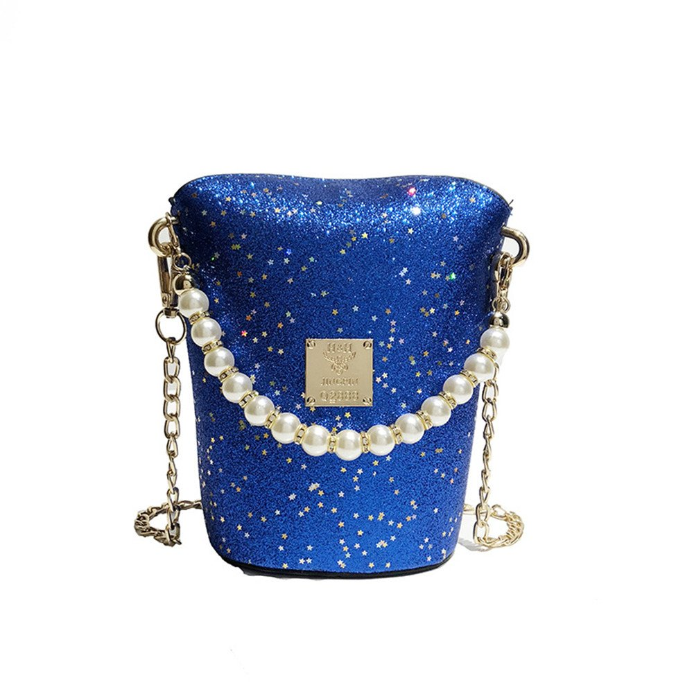 FTSUCQ Womens Sequins Pearl Satchels Shoulder Handbags Casual Messenger Bag Hobos Satchels Purse (Blue)