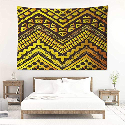 (alisos Tribal,Hippie Wall Hanging Hand Drawn Painted Ethnic Pattern with Zig Zag and Stripes African Geometric Art 84W x 70L Inch Wall Tapestries Yellow Black)