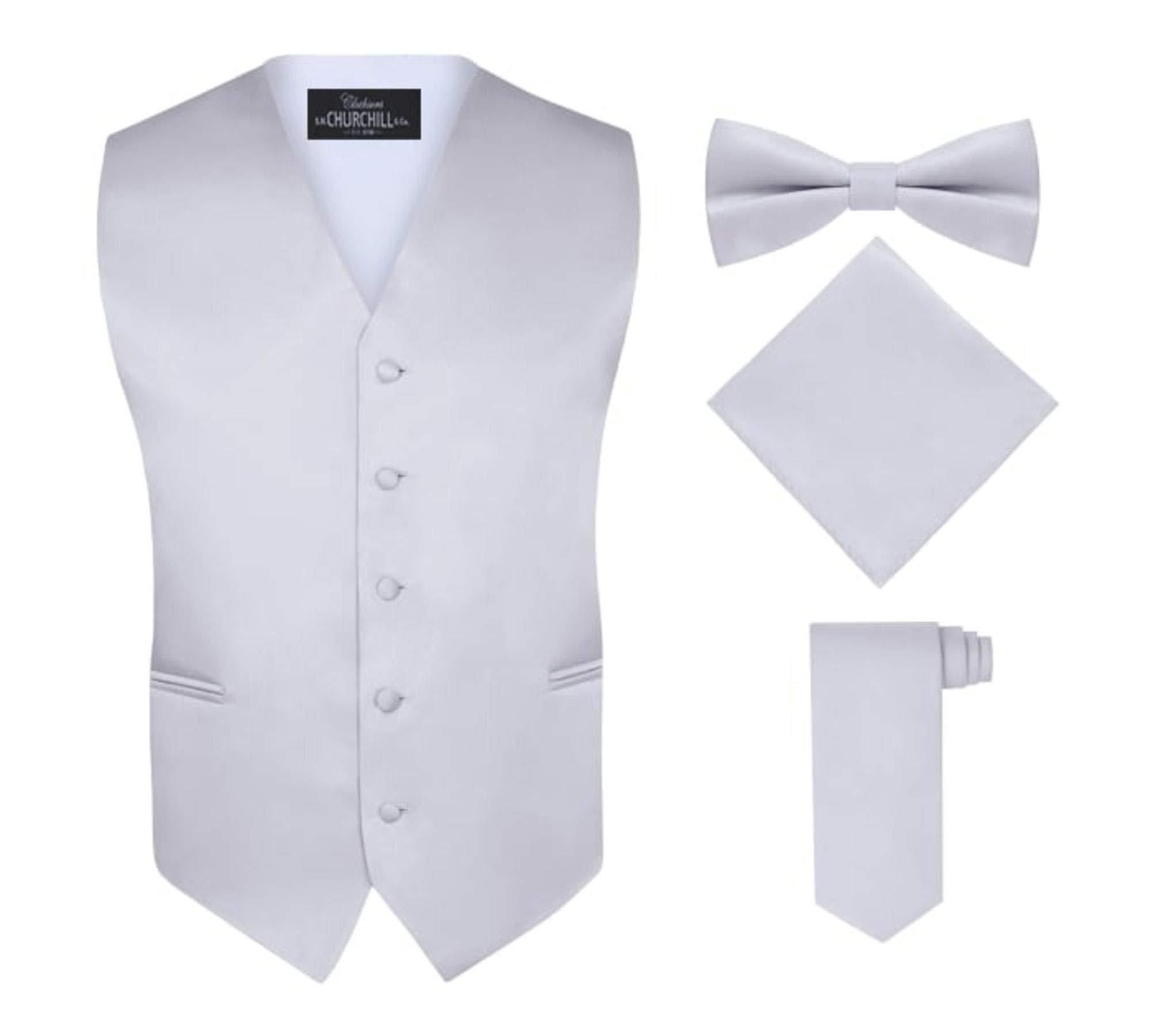 S.H. Churchill & Co. Men's 4 Piece Vest Set, with Bow Tie, Neck Tie & Pocket Hankie - Silver, M