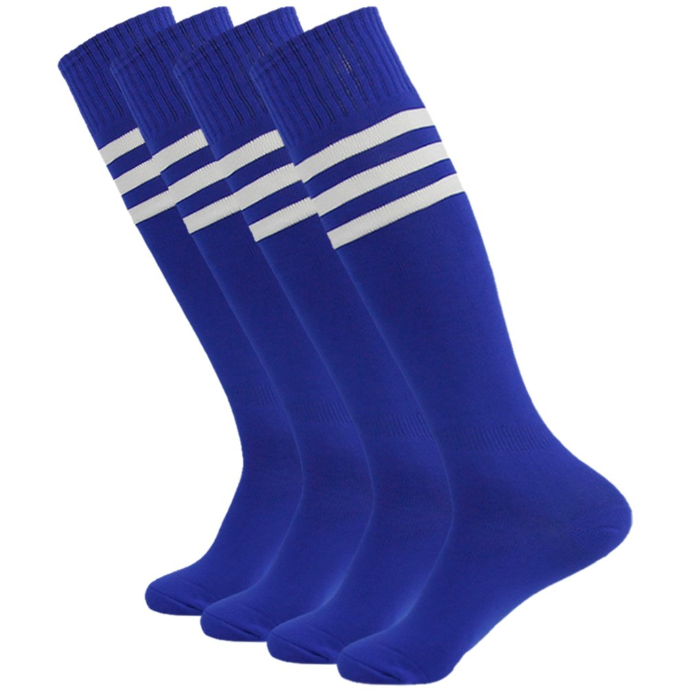 getsporユニセックスFootball Socks Knee HighアスレチックサッカーチューブSock 2 / 4 / 6 / 12ペア B077JLSX3Z Blue 4 Pairs Blue 4 Pairs