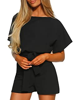 62043a050a7 Women s Tie Sash Belted Midi Casual Dress Rompers and Jumpsuits with Roll  Up or Batwing Short