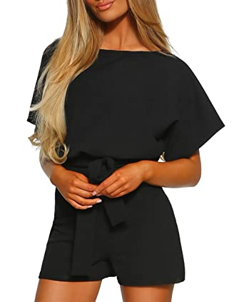 cb212a48523458 Women s Over The Top Belted Playsuit Romper for Women Short with Batwing  Sleeves and Detachable Tie