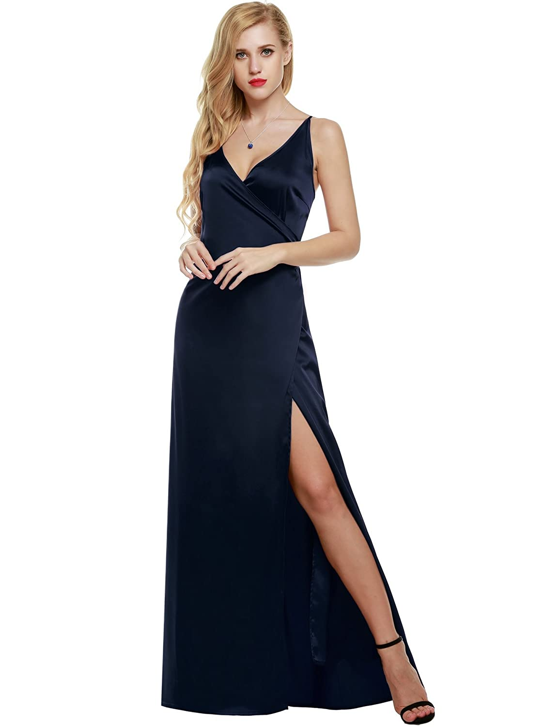 CRAVOG Damen Ärmellos Bodycon Einfarbig Sommerkleid Maxikleid Tank Dress Langes Kleid