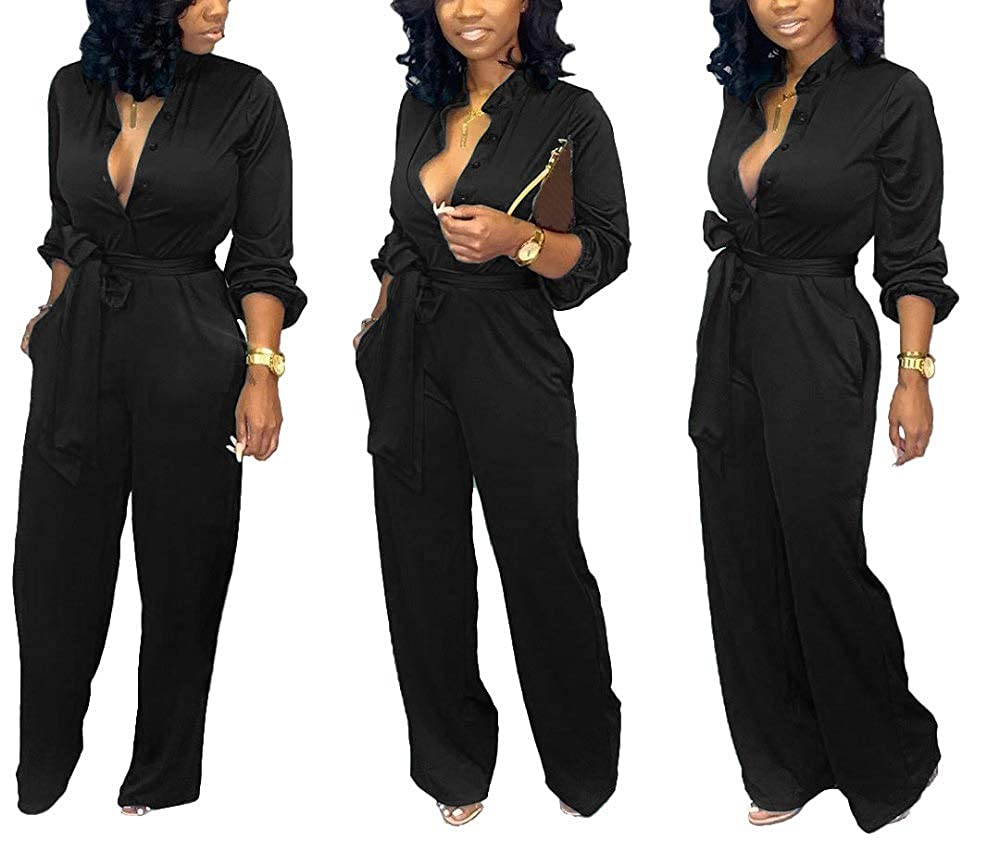 Famnbro Womens Solid Color Deep V Neck Bubble Long Sleeve Wide Leg Long Pants Elegant Jumpsuits and Rompers with Belt