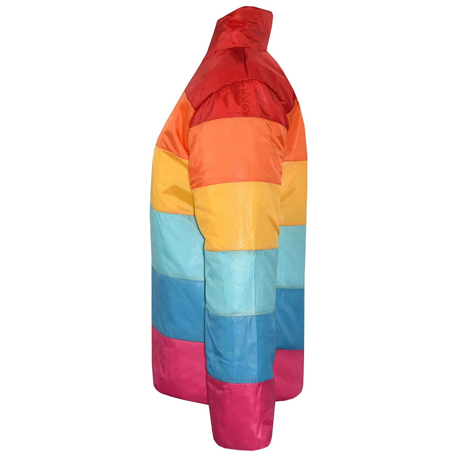 Kids Girls Jackets Rainbow Padded Multi Color Block Puffer Jacket Coats 7-13 Yrs