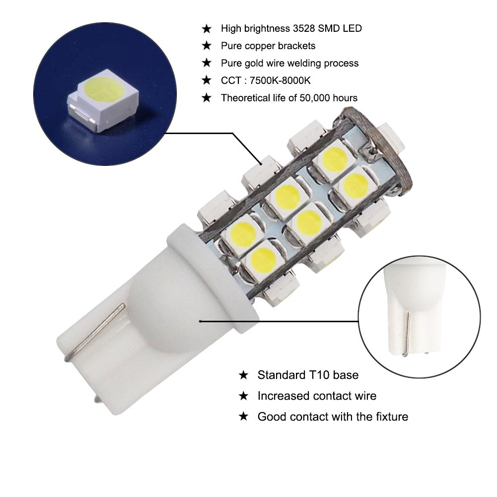 Grv T10 Wedge 921 194 25 3528 Smd Led Bulb Lamp Super Parallel Furthermore Fluorescent Light Fixture Wiring Or Bright Cool White Dc 12v Pack Of 10 Automotive