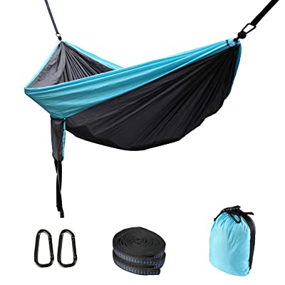 YOOMALL Double Camping Hammock with Tree Straps Support 600 Pounds Easy Set Up Indoor Outdoor Travel (Grey & Blue): Sports & Outdoors