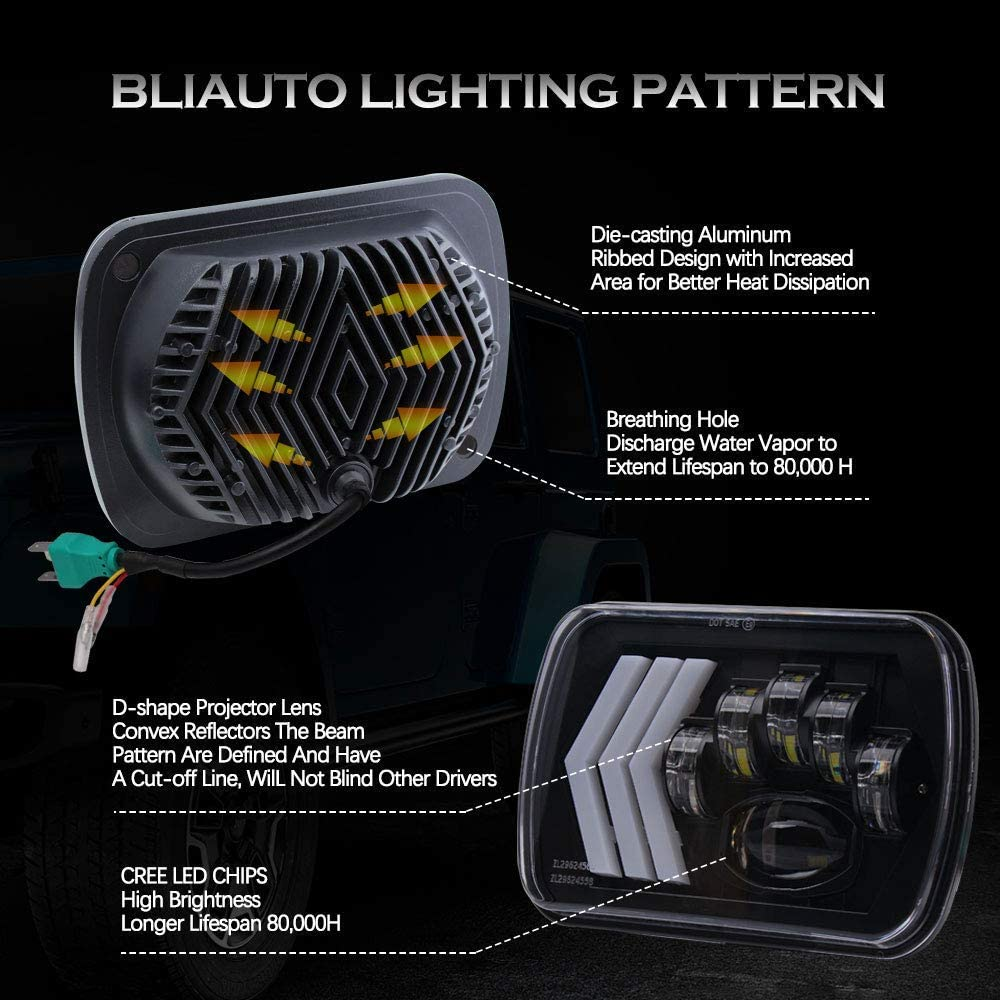 BLIAUTO 7x6 LED Headlights Dot Approved 5x7 H6054 LED Headlights with White/&Amber Arrow DRL Dynamic Sequential Turn Signal for Jeep Wrangler YJ Cherokee XJ H5054 H6054LL 6052 6053 2PCS