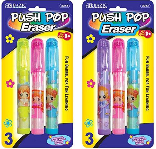 Bazic Fancy Push-Pop Pencil Eraser 144 pcs sku# 311294MA by Bazic (Image #1)