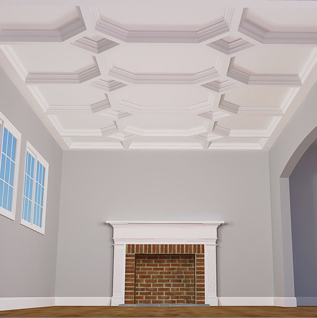 Kit Ekena Millwork CC08PIC04X14X14DE 14W x 4P x 14L Perimeter Inside Corner for 8 Deluxe Coffered Ceiling System