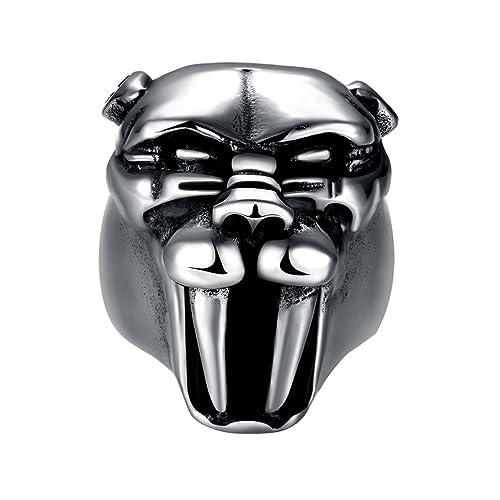 0e370aca8 Men's Vintage 316L Stainless Steel Saber-toothed Tiger Head Rings Black  Heavy Metal Rock Punk