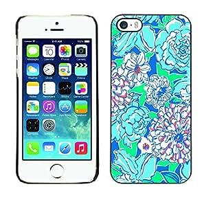 Caucho caso de Shell duro de la cubierta de accesorios de protección BY RAYDREAMMM - Apple iPhone 5 / 5S - Floral Art Green Blue Nature