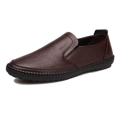 Hongjun-shoes, Zapatos de Hombre clásico Punta Redonda de Cuero Genuino de Piel de