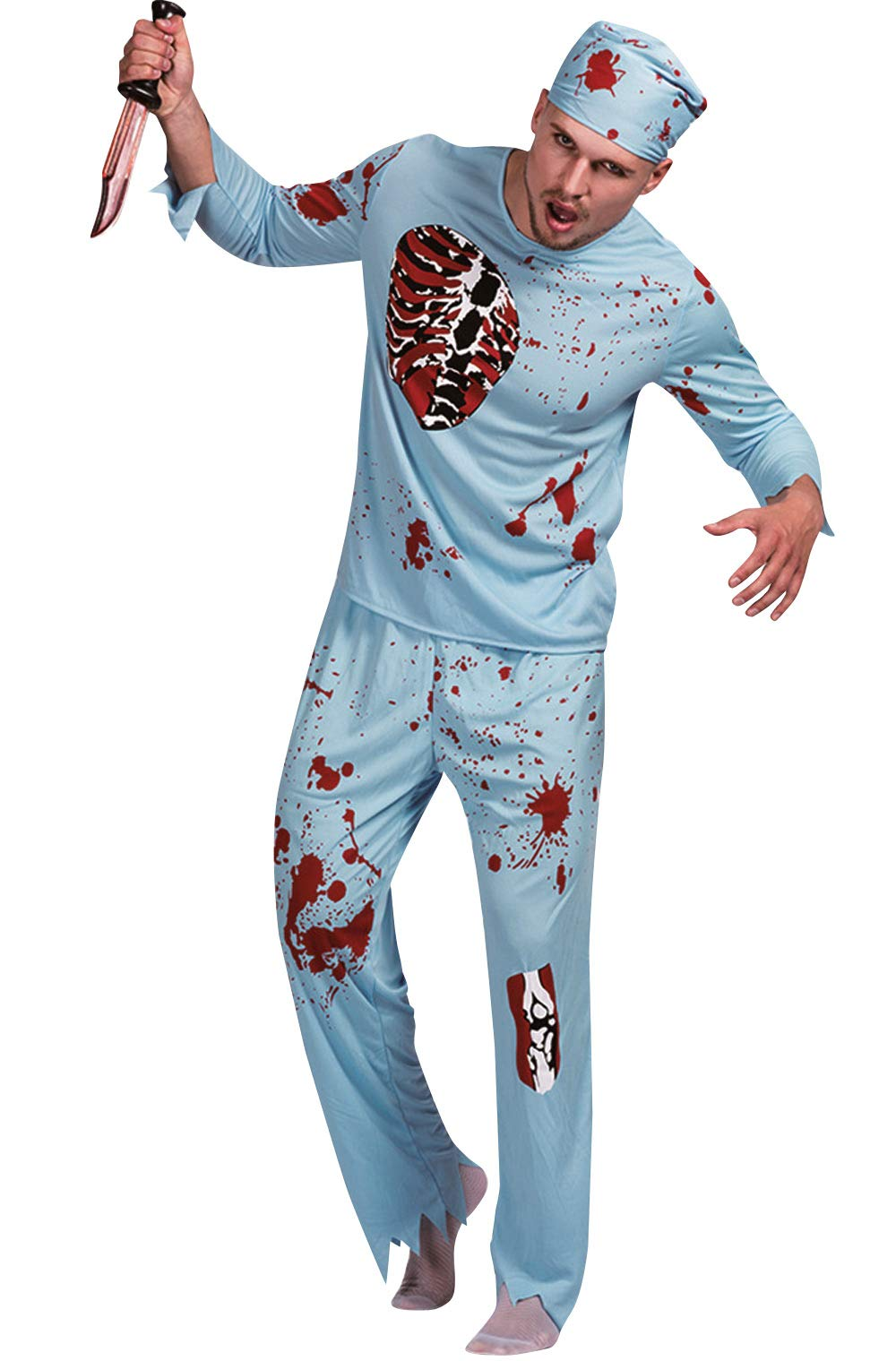 Mens Blood Stains Zombie Doctor Scary Uniform Suit Halloween Cosplay Costume M for Adult