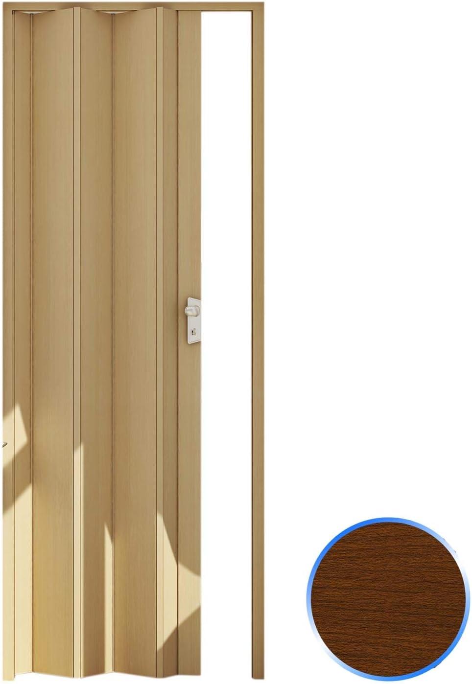Forte Puerta Plegable de Interior de PVC Madera Oscura 83x214 cm Mod.Maya