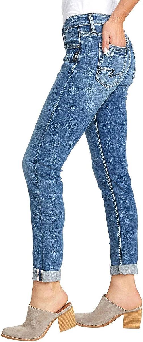 Womens Boyfriend Mid Rise Slim Leg Jeans Silver Jeans Co