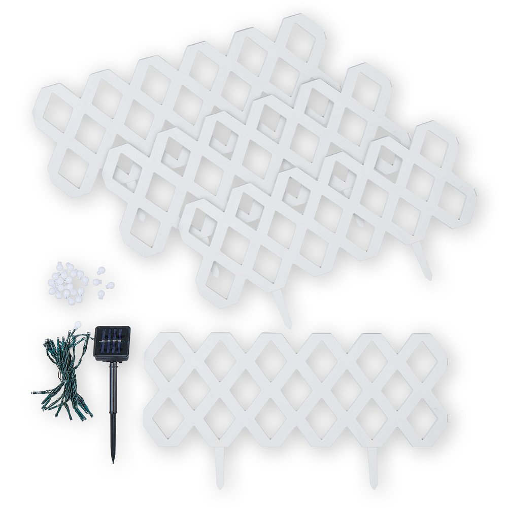 Collections Etc White Trellis Plastic Garden Border Edging Set with Solar Lights, Set of 4