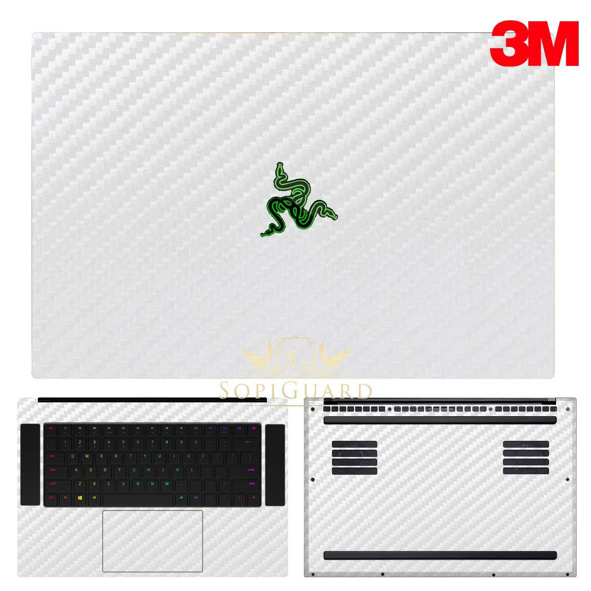 SopiGuard 3M Carbon White Full Body Precision Edge-to-Edge Coverage Vinyl Sticker Skin for 2018 Razer Blade 15.6 inch (Base Model)