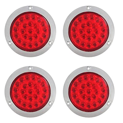 "MOTL 4Pcs 4 Inch Round Led Trailer Tail Lights Red 24 LED Flange Mount Waterproof Chrome 4"" Brake Stop Turn Tail Marker Trailer Lights Sealed for Truck Trailer RV Boat Jeep UTE UTV 12V: Automotive"