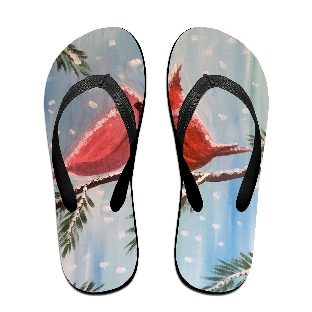 Couple Slipper Cardinal Date Night Single Print Flip Flops Unisex Chic Sandals Rubber Non-Slip Beach Thong Slippers