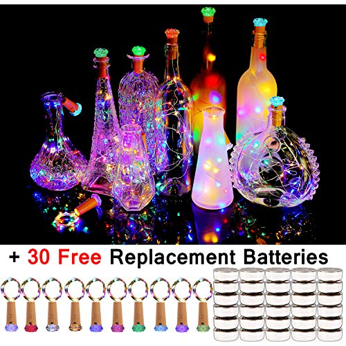 Halloween Painted Wine Bottles (KZOBYD Wine Bottle Lights with Cork 10 Pack Fairy Battery Operated Mini Lights Diamond Shaped LED Cork Lights for Wine Bottles DIY Party Decor Christmas Halloween Wedding)