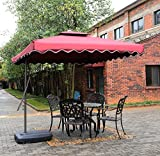 Tylor's Garden 8-1/2 Ft Cantilever Outdoor Patio Umbrella, UV Resistant, 100% Polyester, Burgundy
