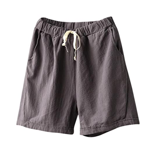 3457fc8c23 Amazon.com: Women Casual Shorts Elastic Waist Pocket Summer Short Pants-Cotton  Linen: Clothing