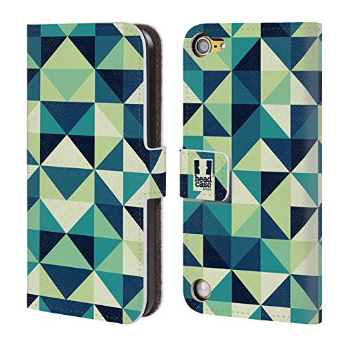 Head Case Triangoli Blu E Verdi Stampe Ottiche Geometriche Cover telefono a portafoglio in pelle per Apple iPod Touch 5G 5th Gen / 6G 6th Gen