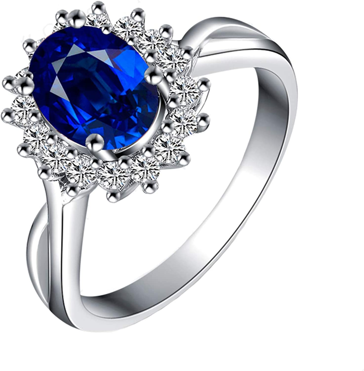 Aokarry 18k White Gold Flower Diamonds Engagement Wedding Ring for Women with Oval Sapphire