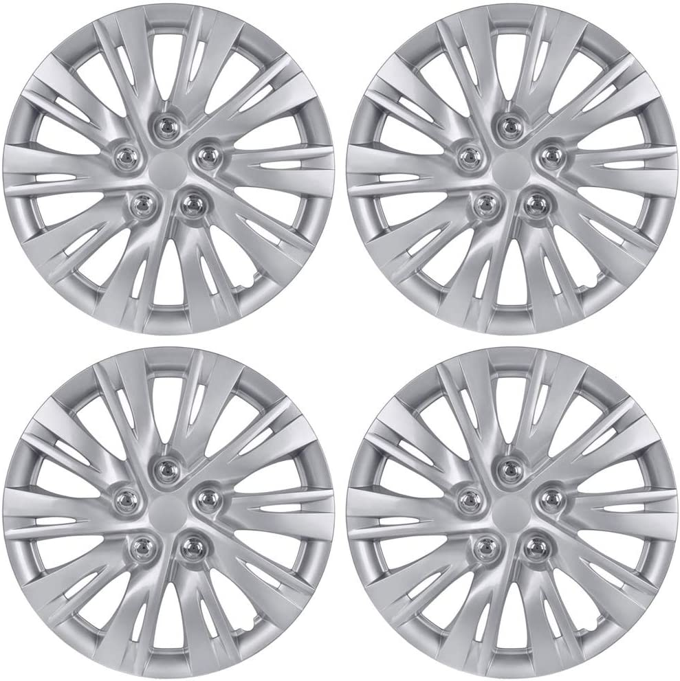 "BDK KT-1037-16 Silver K1037 Hub Caps (Wheel Covers) for Toyota Camry 2012-2013 16"" – Four (4) Pieces Corrosion-Free & Sturdy – Full Heat & Impact Resistant Grade – OEM Replacement"