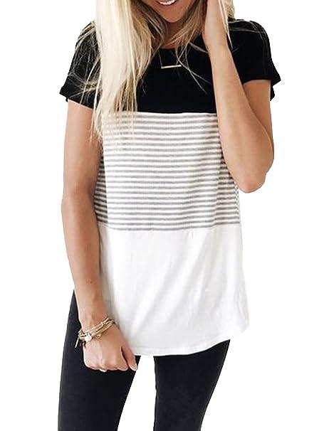 Women's Short Sleeve Triple Threat Colorblock Top Striped Tee Shirt (Black,Small)
