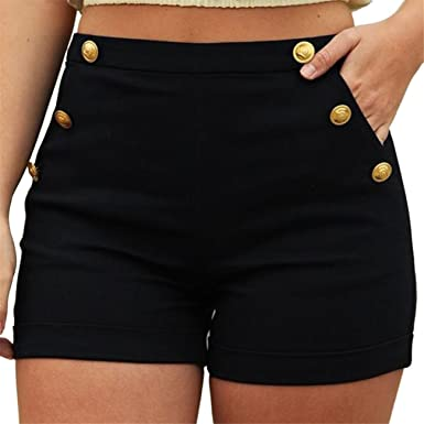 53a66c137b Short Femme Pantalons Ete Femme Pantalons Taille Haute Femme Casual Grande Taille  Zipper Bande éLastique Hot