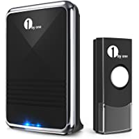 1byone Easy Chime Wireless Doorbell Kit, 1 Receiver & 1 Push Button with Sound and LED Flash, 36 Selectable Melodies, Battery Operated, Black