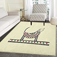 Dachshund Area Rug Carpet Ethnic Dog Sketch with Tribal Geometric Elements Circles and Lines Living Dining Room Bedroom Hallway Office Carpet 3x4 Beige Red Fern Green