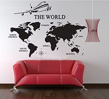 Extra Large World Map Of Earth Wall Decal Vinyl Art Wall Sticker Home  Office Décor,