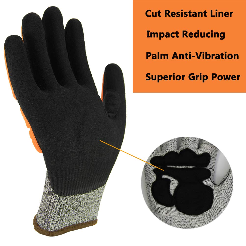 Durable Protection for Mechanic Auto Garden Construction Multi-Purpose Use. Level 5 Cut Resistant Liner with Grip Coating Impact Reducing Safety Gloves Anti-Vibration Work Gloves