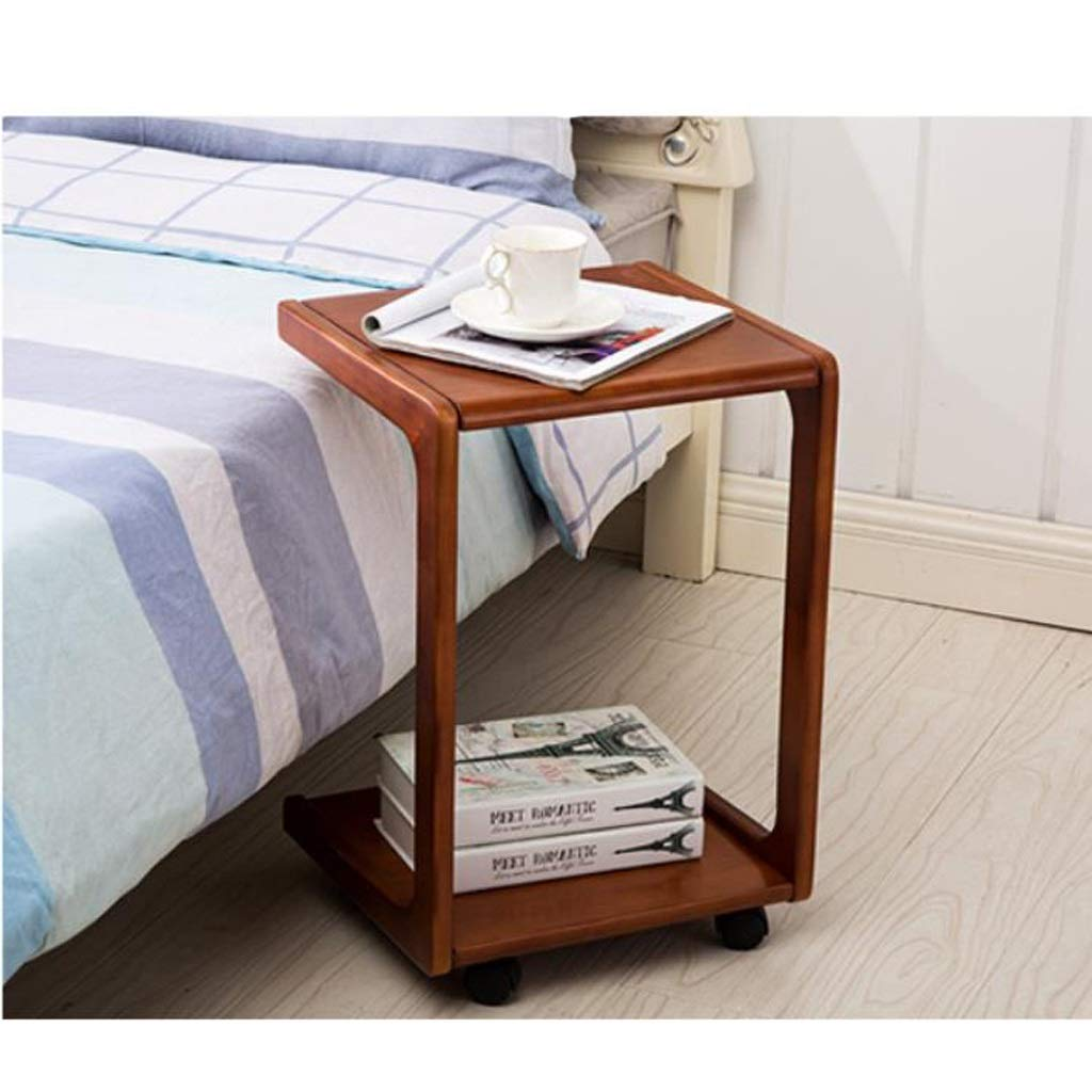 B End Table, Mobile Sofa Side End Coffee Table Coffee Table Laptop Stand Rolling Castors Storage Wooden (color   B)