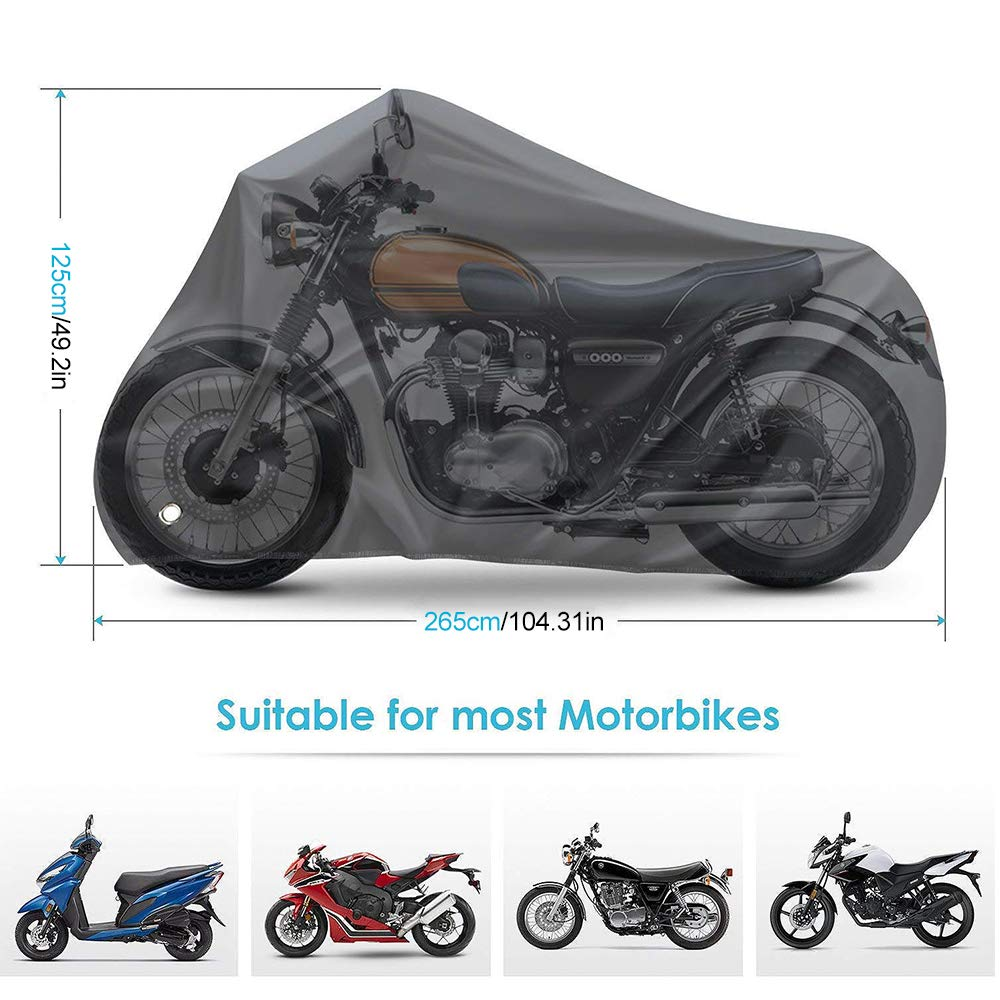 Motorcycle Cover MAXTUF L Waterproof Durable /& Tearproof Anti-UV Sun Protection 210D Oxford Outdoor Indoor with Anti-Thief Lock Hole Fit for Motorcycle Bike Scooter All Weather