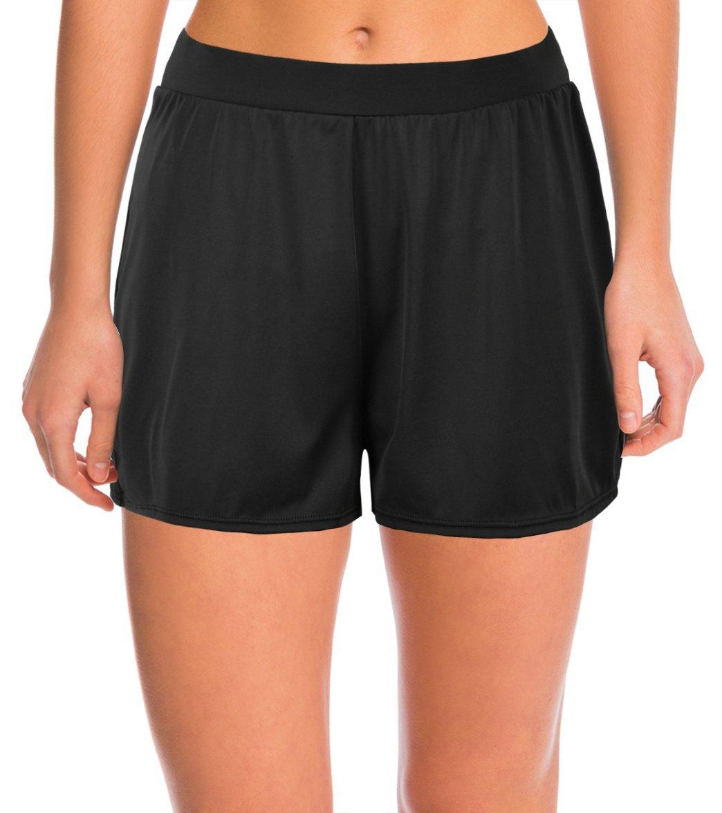 Septangle Women's Solid Color Waistband Tankini Boyleg Swimsuit Bottom Boardshorts with Briefs … (US 18, Black)