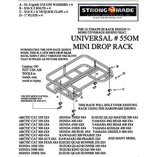 suzuki eiger 400 rear mini drop rack glossy black finish by strong made 550m