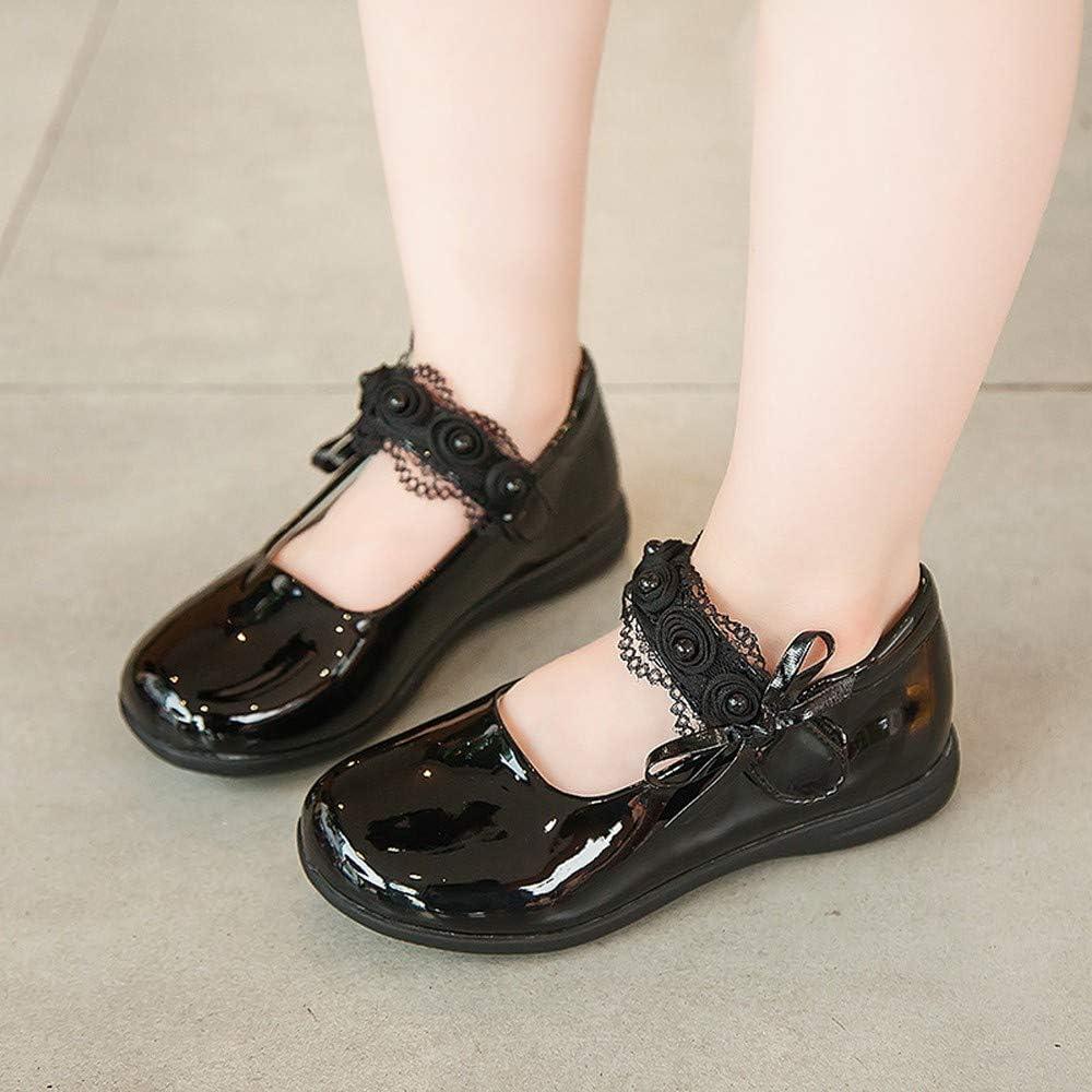 Qiaoyan Girls Ballet Flats Shoes Ballerina Bowknot Jane Mary Flats Leather Shoe