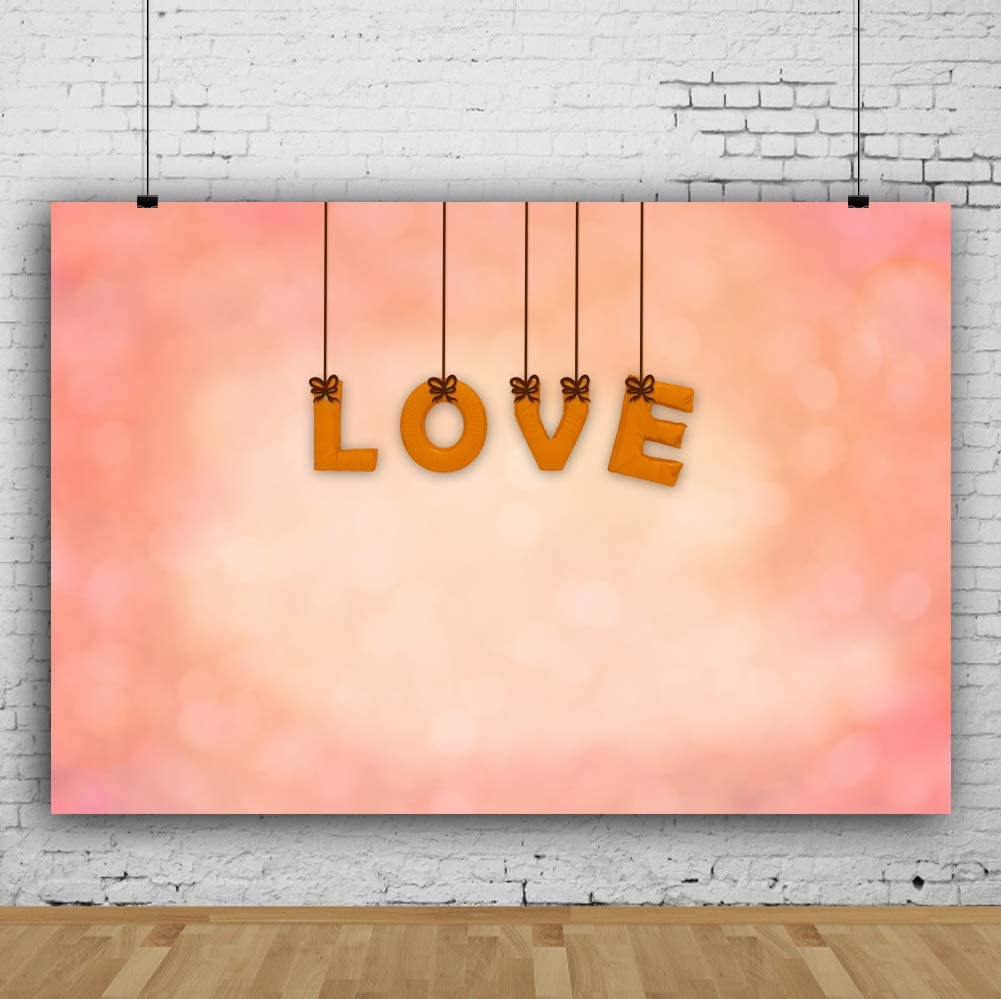 AOFOTO 5x3ft Valentines Day Decorations Backdrop Romance Love Theme Party Wedding Anniversary Decor Pink Wood Plank Wall Background for Photography Photo Studio Props Vinyl Wallpaper