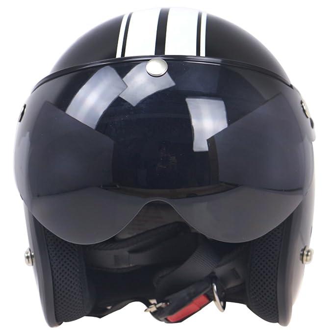 Visage Ouvert Fermeture /à 3 Boutons-Pression Style R/étro Harley par sweetlife 1pc Visi/ère pour Casque Jet Demi Jet 3//4 Moto A:Marron