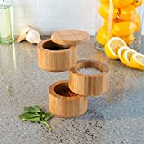 Classic Cuisine 82-KIT1061 Bamboo 3 Tier Multi Compartment Storage Container for Spices, Herbs or Seasonings-Modern, Compact and Convenient Salt Box, Wood