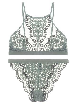 c6bed84db0f6e M S W Women 2 Piece Bra Set Floral Lace Underwear Straps Bralette and Panty  Set ...