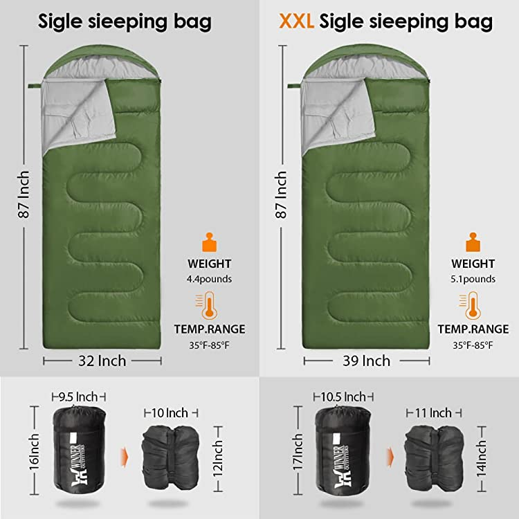 WINNER OUTFITTERS Camping Sleeping Bag, Portable Lightweight Rectangle/Mummy Backpacking Sleeping Bag